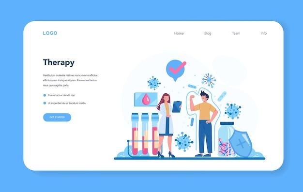 Layout web o pagina di destinazione dell'immunologo professionista. idea di assistenza sanitaria, prevenzione dei virus. terapia immunitaria e vaccinazione.