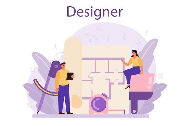 Concetto di interior designer professionale.