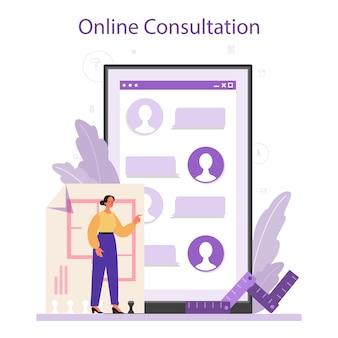 Servizio online di interior designer professionale o set di piattaforme.