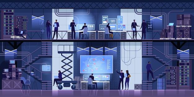 Ingegneri it professionisti che lavorano nel system control center Vettore Premium