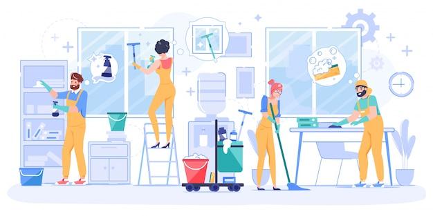 Servizio di pulizia professionale dell'ufficio del team di bidello