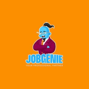 Modello di logo della mascotte di vettore del genio del lavoro professionale