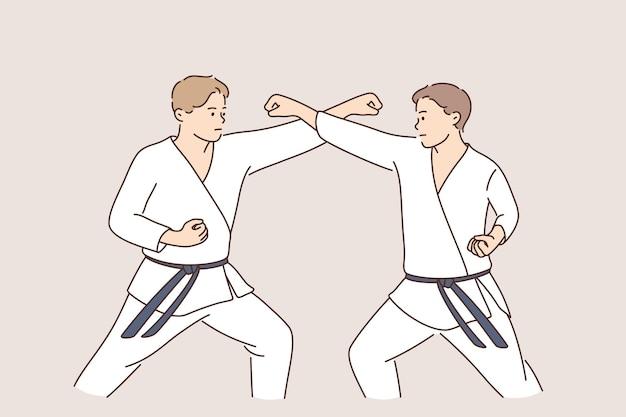 Concetto di combattenti sportivi di karate professionale