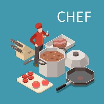 Composizione isometrica del cibo del personale degli elettrodomestici da cucina professionale con la zuppa di degustazione dello chef del ristorante dalla pentola commerciale