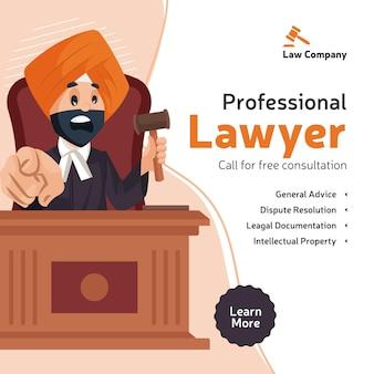 Il design del banner di consultazione gratuita dell'avvocato professionista con l'avvocato punjabi è arrabbiato