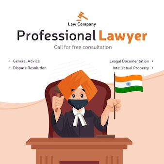 Il design del banner di consultazione gratuita dell'avvocato professionista con l'avvocato punjabi è seduto su una sedia