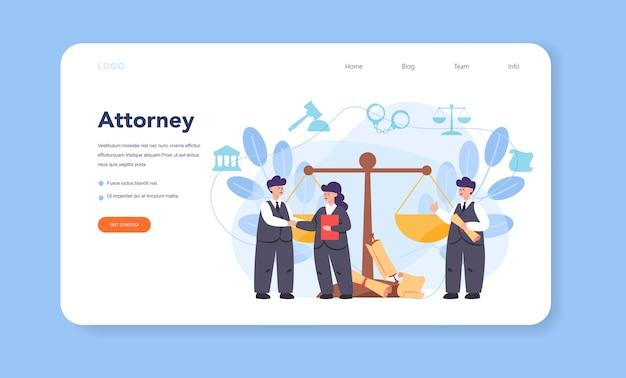 Banner web o pagina di destinazione dell'avvocato professionista