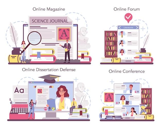 Servizio online di letteraturista professionista o set di piattaforme.