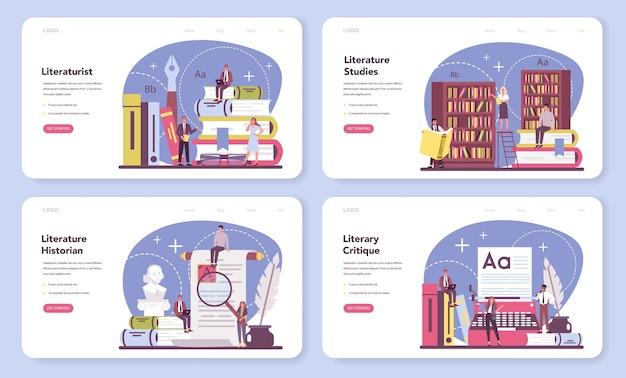 Banner web o set di pagine di destinazione del letteraturista professionista.