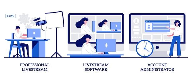 Livestream professionale, amministratore di software e account. set di eventi live online