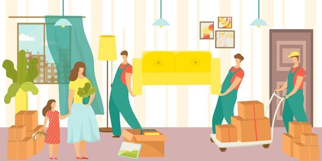 Il personaggio del caricatore professionale aiuta le persone in famiglia che traslocano le coppie che cambiano appartamento vettore piatto...