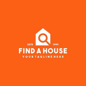 Design professionale del logo della casa con lente d'ingrandimento