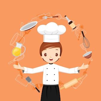 Chef maschio professionista con oggetti di elettrodomestici da cucina