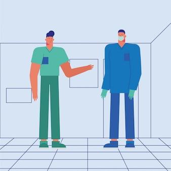 Medici maschii professionisti che indossano le maschere mediche