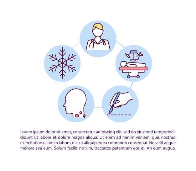 Icona di concetto di cure mediche professionali con testo. modello di pagina ppt per la cura della pelle. rimozione di etichette cutanee. chirurgia della pelle.