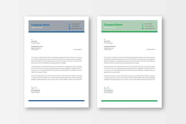 Carta intestata professionale e moderna
