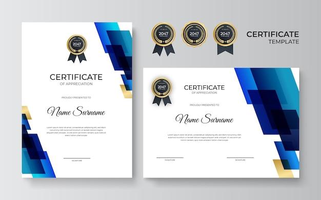 Modello di certificato blu navy professionale in stile premium. modello di certificato di apprezzamento con elemento decorativo dorato. diploma di design diploma, premio. illustrazione vettoriale