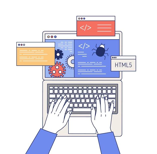 Illustrazione del profilo di programmazione professionale Vettore Premium