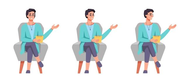 Psicologo professionista seduto su una sedia e parlando di un insieme isolato di personaggi sorridenti e