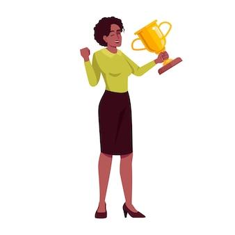 Riconoscimento professionale semi piatto rgb illustrazione vettoriale di colore. la donna di affari con i gesti vittoriosi del trofeo ha isolato il personaggio dei cartoni animati su fondo bianco. premio per il raggiungimento dell'obiettivo