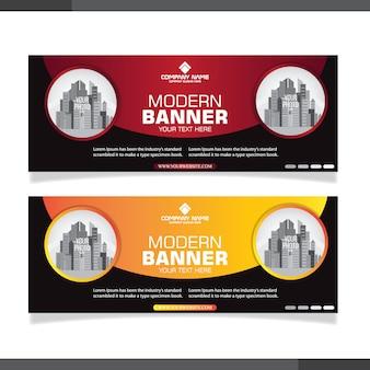 Design professionale per banner rosso e arancione