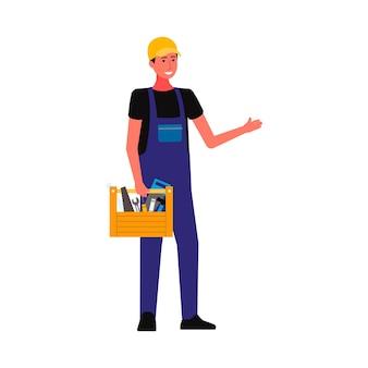 Personaggio dei cartoni animati professionista riparatore o operaio edile