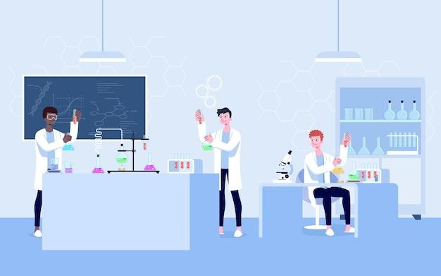 Un laboratorio di ricerca scientifica professionale. gli scienziati fanno la ricerca chimica con l'attrezzatura per il giro. l'ingegnere molecolare che lavora all'esperimento ricerca la biologia molecolare.