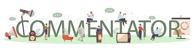 Concetto di intestazione tipografica di altoparlante o commentatore professionale
