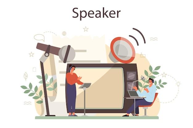 Concetto di altoparlante, commentatore o doppiatore professionista. peson parla al microfono. trasmissione o indirizzo pubblico. relatore del seminario di lavoro.