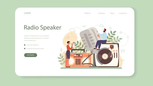 Banner web o pagina di destinazione per speaker, commentatore o doppiatore professionista