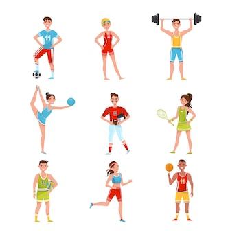 Set di sportivi professionisti, giocatori di calcio, baseball, pallacanestro, pallavolo, tennis e altri sport, illustrazione di concetto di stile di vita di sport attivo