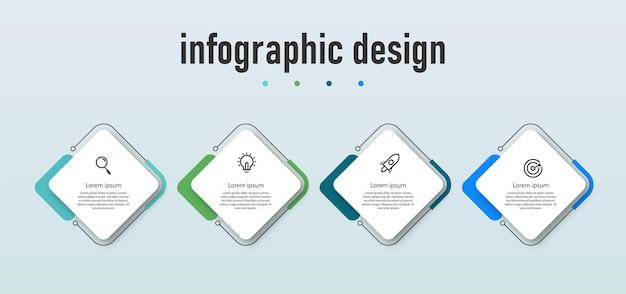 Modello di infografica aziendale di presentazione di passaggi professionali con 4 opzioni