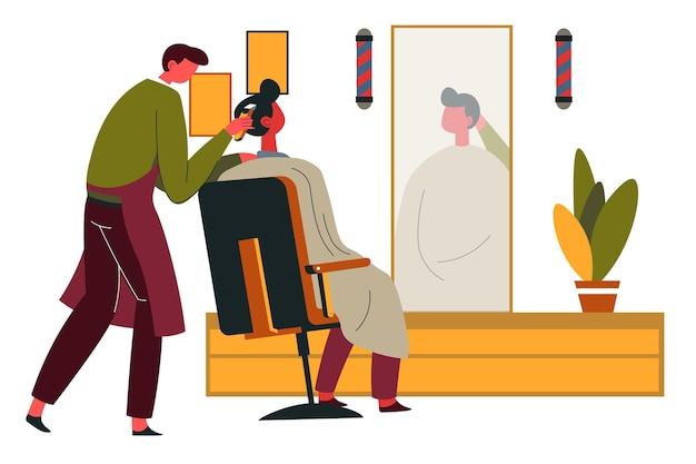 Cura professionale dello stilista per gli uomini, barbiere per i signori. interno della stanza con specchio e pianta decorativa. salone di bellezza per ragazzi, baffi e trattamento specialistico per capelli. vettore in stile piatto