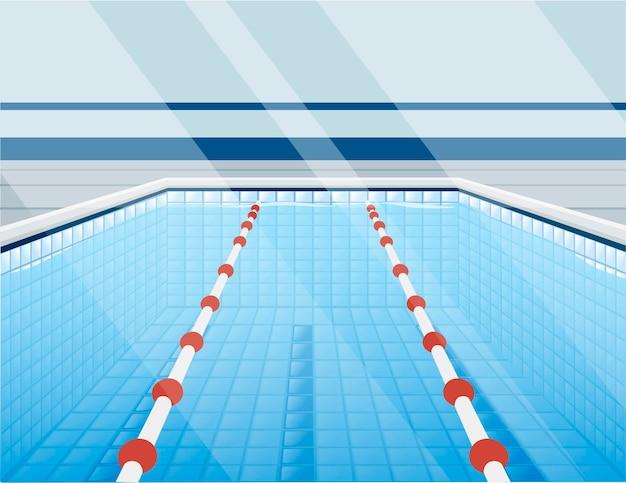 Piscina professionale con percorsi per immersione e illustrazione vettoriale piatta dell'acqua.