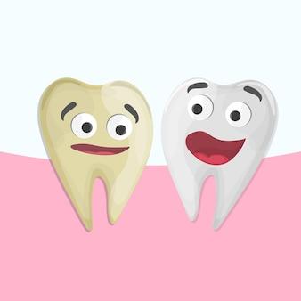 Sbiancamento dentale professionale, cartone animato dente sano e giallo, illustrazione vettoriale. illustrazione medica - cure odontoiatriche