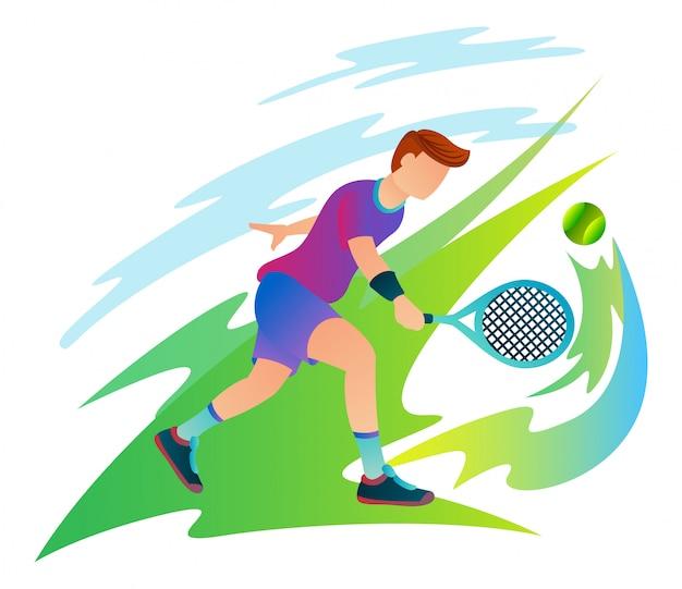 Un giocatore di tennis professionista sta colpendo la palla diretta al suo avversario.