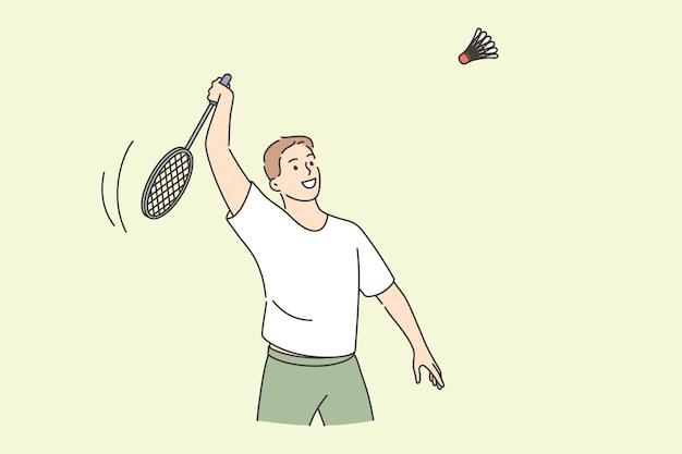 Giocatore di tennis professionista e concetto di sport. personaggio dei cartoni animati di giovane uomo sorridente che tiene razzo giocando a tennis con illustrazione vettoriale di stile di vita attivo