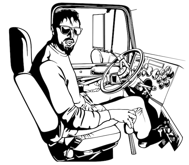 Camionista professionista che guida camion