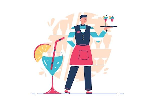 Cameriere professionista che tiene vassoio con bevande