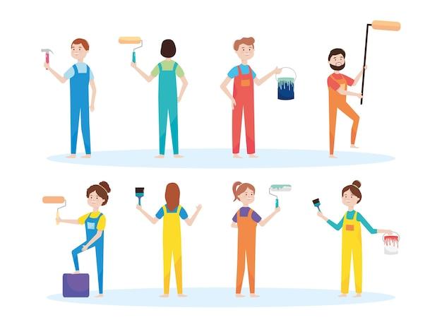 Lavoratori professionisti, artigiani per dipingere il secchio del rullo della parete e il rimodellamento dell'illustrazione della spazzola