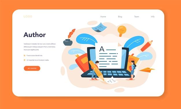 Banner web o pagina di destinazione per scrittore o giornalista professionista