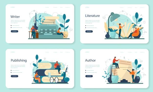 Scrittore professionista, set di pagine di destinazione web di letteratura.
