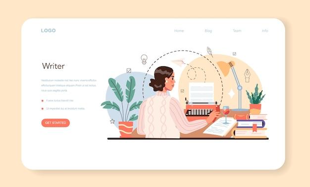 Banner web per scrittore professionista o script per la scrittura dell'autore della pagina di destinazione