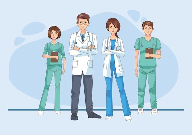 Medici professionisti con illustrazione di caratteri stetoscopi