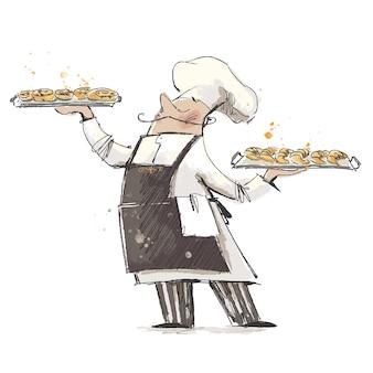 Panettiere di professioni che tiene vassoi con croissant e panini di pasticceria fresca