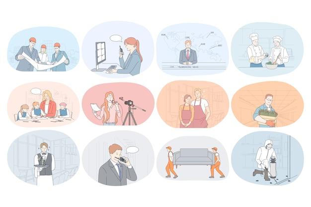Professioni, occupazione, lavoro, lavoro, specialisti, manodopera, concetto di affari.