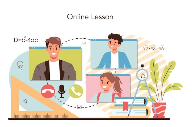 Professore che tiene una lezione online in videochiamata