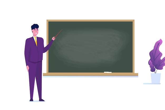 Professore o insegnante in piedi vicino alla lavagna del banco in bianco