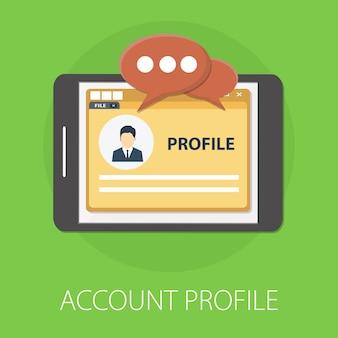 Profilo pagina di accesso sullo schermo isolato su verde