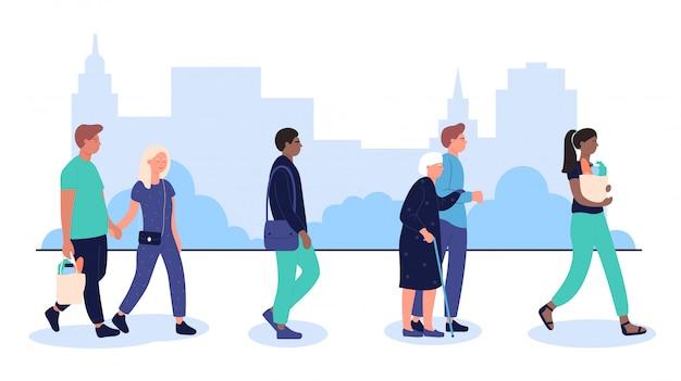 Il profilo di varie persone multirazziali folla che cammina sull'illustrazione urbana della via della città.